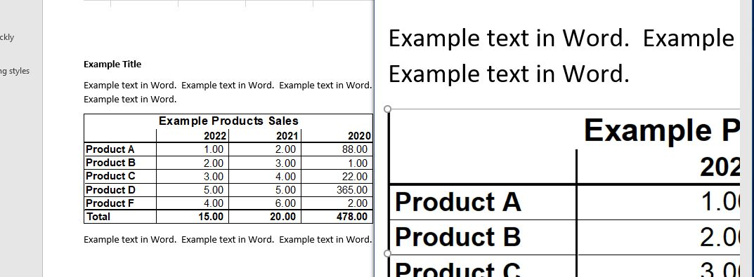 Excel Table Exported to Word as Vector Graphic as Printed (Good Quality Even With Zooming)