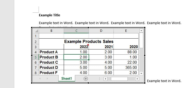 editing embedded Excel in Word