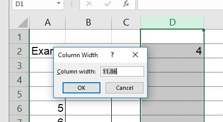viewing and changing column width in Excel