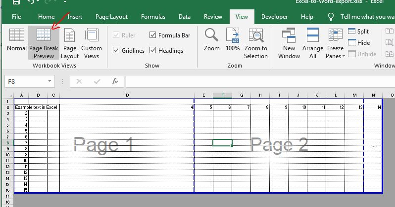 Excel page break preview